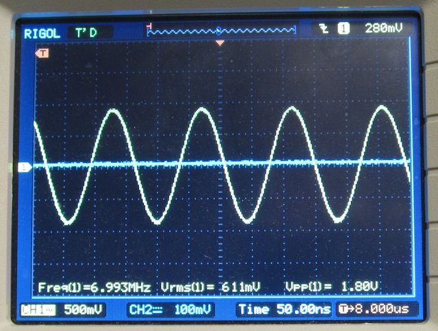 DDS-60 output on an oscilloscope